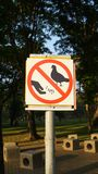 Don`t feed the birds, Road Sign. Do not stop feeding the birds Royalty Free Stock Image
