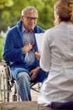 Don`t feel good elderly man disabled in wheelchair. Don`t feel good elderly men disabled in wheelchair outdoor Stock Images