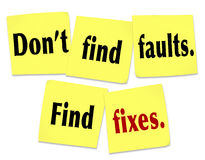 Don't Find Faults Find Fixes Saying Quote Sticky Notes Royalty Free Stock Images