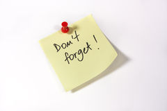 Don't forget. Written on a sticky note Royalty Free Stock Photography