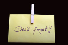 Don't forget. Digital photo of a note with the letters Don't forget on Stock Photo