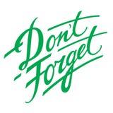 Don't Forget. Decorative handwriting reminder memory remember vector illustration