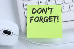 Don`t forget date meeting remind reminder notepaper business con. Cept mouse computer keyboard Stock Image