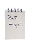 Don't forget note. Don't forget list ready to be filled Royalty Free Stock Images