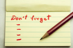 Don,t forget note Royalty Free Stock Photo