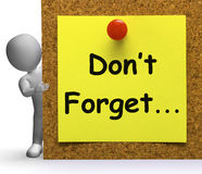 Don't Forget Note Means Important Remember Or Forgetting Royalty Free Stock Images