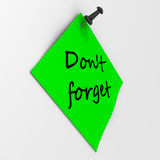 Don't forget. Note paper with pushpin Stock Photos
