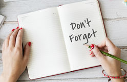 Don't Forget Notice Reminder Words Graphic Concept Royalty Free Stock Image