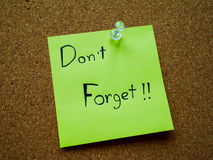 Don't forget on post it note Stock Images