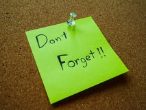 Don't forget on post it note Stock Photo