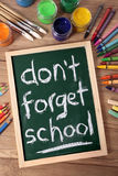 Don't forget school, back to school concept, desk, blackboard, vertical Royalty Free Stock Photography
