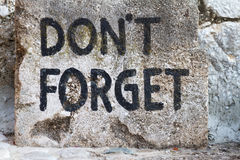 Don't Forget text in Mostar Stock Photography
