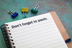 Don`t forget to pack concept Stock Image
