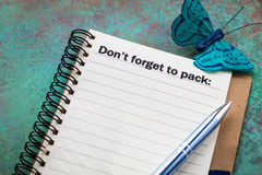 Don`t forget to pack concept Royalty Free Stock Photography