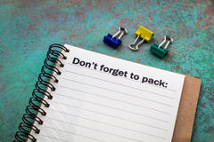 Don`t forget to pack concept Stock Images