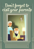 Don`t forget to visit your parents. Loneliness of the elderly. Mature parents wait for heir children to visit. Stock Photos