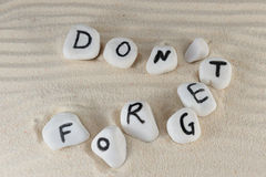 Don't forget words Stock Image