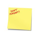 Don't forget yellow note. Don't forget on post-it Royalty Free Stock Images