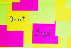 Don't forgot colorful reminder note Royalty Free Stock Image