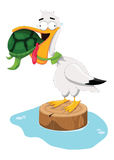 Don't Give Up!. Illustration of a sea turtle choking a pelican Stock Photography
