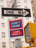 Don't Honk and One Way Royalty Free Stock Photos