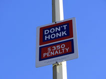 Don't honk sign. In Manhattan, New York City, United States of America stock photography