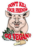 Don't kill your friends - Go vegan!. Cartoon-style illustration of a cute pig with vegetables in front of him vector illustration
