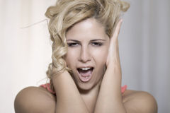 Don't listen beauty portrait stock photo
