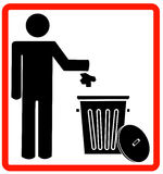 Don't litter. Figure of person throwing garbage into a trash can - no littering - vector Stock Photos