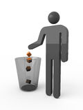 Don't litter. Black icon of man and waste-basket Stock Image