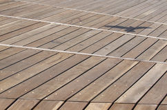 Don't look up. St Kilda boardwalk showing lines and angles and seagull shadow Royalty Free Stock Images
