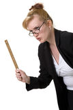 Don't mess with the principal. Stern Female Principal holding ruler Stock Image