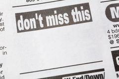 Don't miss this. Newspaper Sales ad,  Business concept Royalty Free Stock Photography