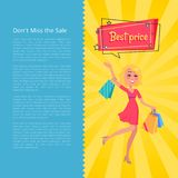 Don t Miss the Sale Best Prices Poster with Woman. Carrying shopping bags in hands, dressed in red gown, speech bubble above head vector illustration royalty free illustration