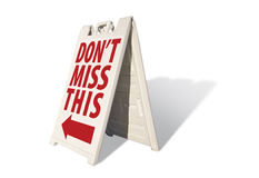 Don't Miss This Tent Sign Royalty Free Stock Photo