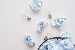 Don`t mix trash. Crumple paper falling to the recycling bin stock photography