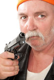 Don't move. Fat man with pistol on white background Stock Image