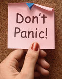 Don't Panic Note Means No Panicking Or Relaxing Stock Photo