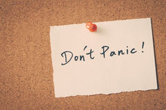 Don't Panic Stock Image
