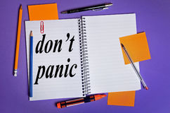 Don't panic word Stock Photos