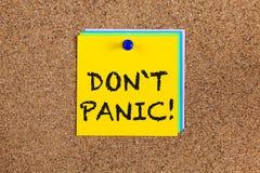 Don ` t panika! na corkboard Fotografia Stock
