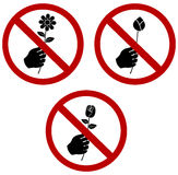 Don't Pick or give the Flower Sign cellection set Stock Photos