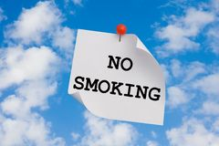 Don't pollute sky. Sign restricting to pollute environment pinned up to the sky Royalty Free Stock Image