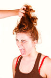 Don't pull my hair. Royalty Free Stock Photography