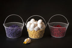 Don`t put all your eggs in one basket stock photography