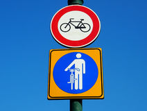 Don`t ride a bike, only walk with a bicycle Royalty Free Stock Photography