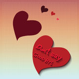 Don' t say good bye on red love heart. Enamored bubbles. Vector Royalty Free Stock Photography