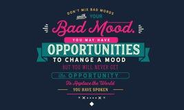Don-` t schlechte Wörter Mischung mit Ihrer schlechten Stimmung lizenzfreie abbildung