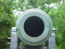 Don't Shoot. Looking down a cannon barrel Stock Image
