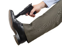 Don't shoot yourself in the foot. Concept for don't shoot yourself in the foot Royalty Free Stock Photo